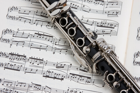 Clarinet on music note paper