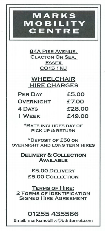 Wheelchair Hire Charges Poster