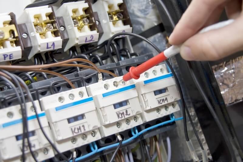 Electrician testing terminal