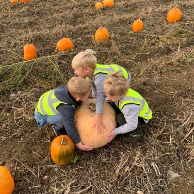 Kids trying to lift up a pumpkin.