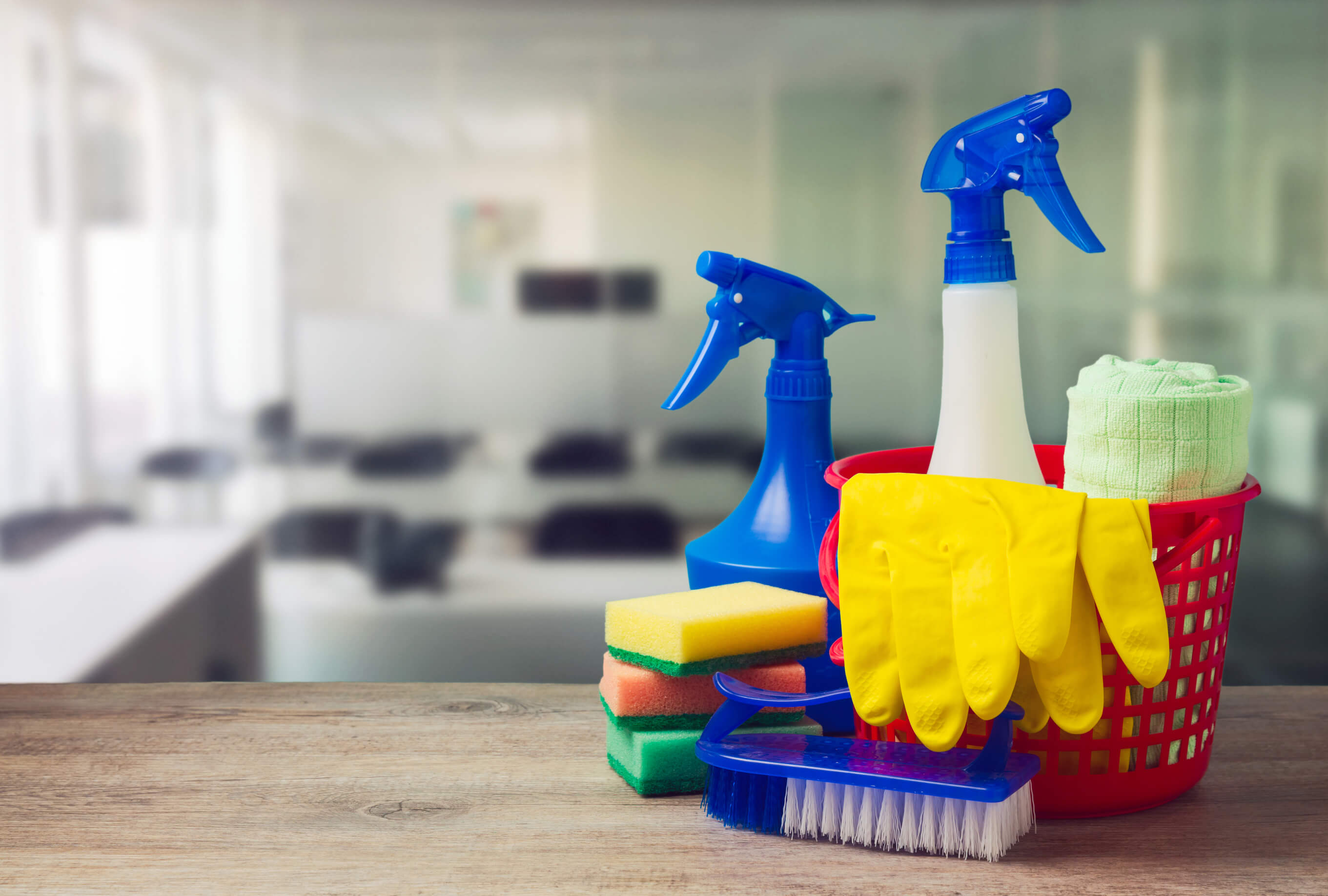 Office cleaning service with supplies over office background