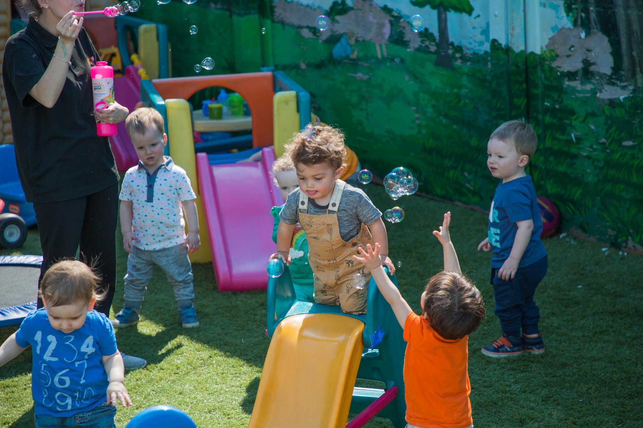 Children playing in playground.