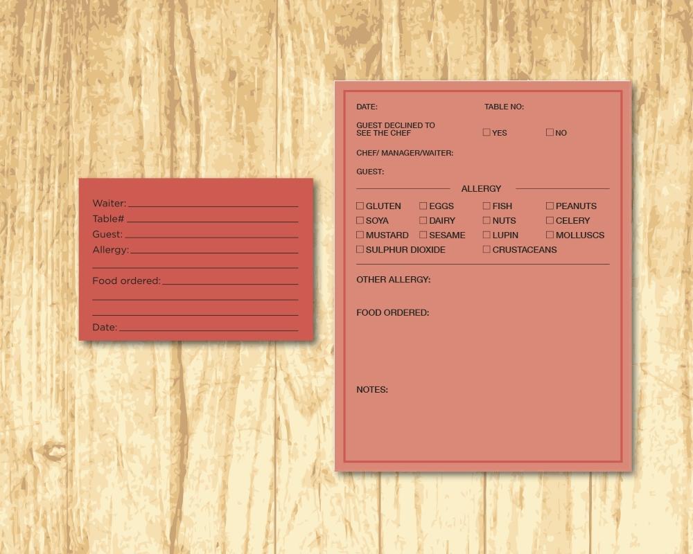 food allergy table card