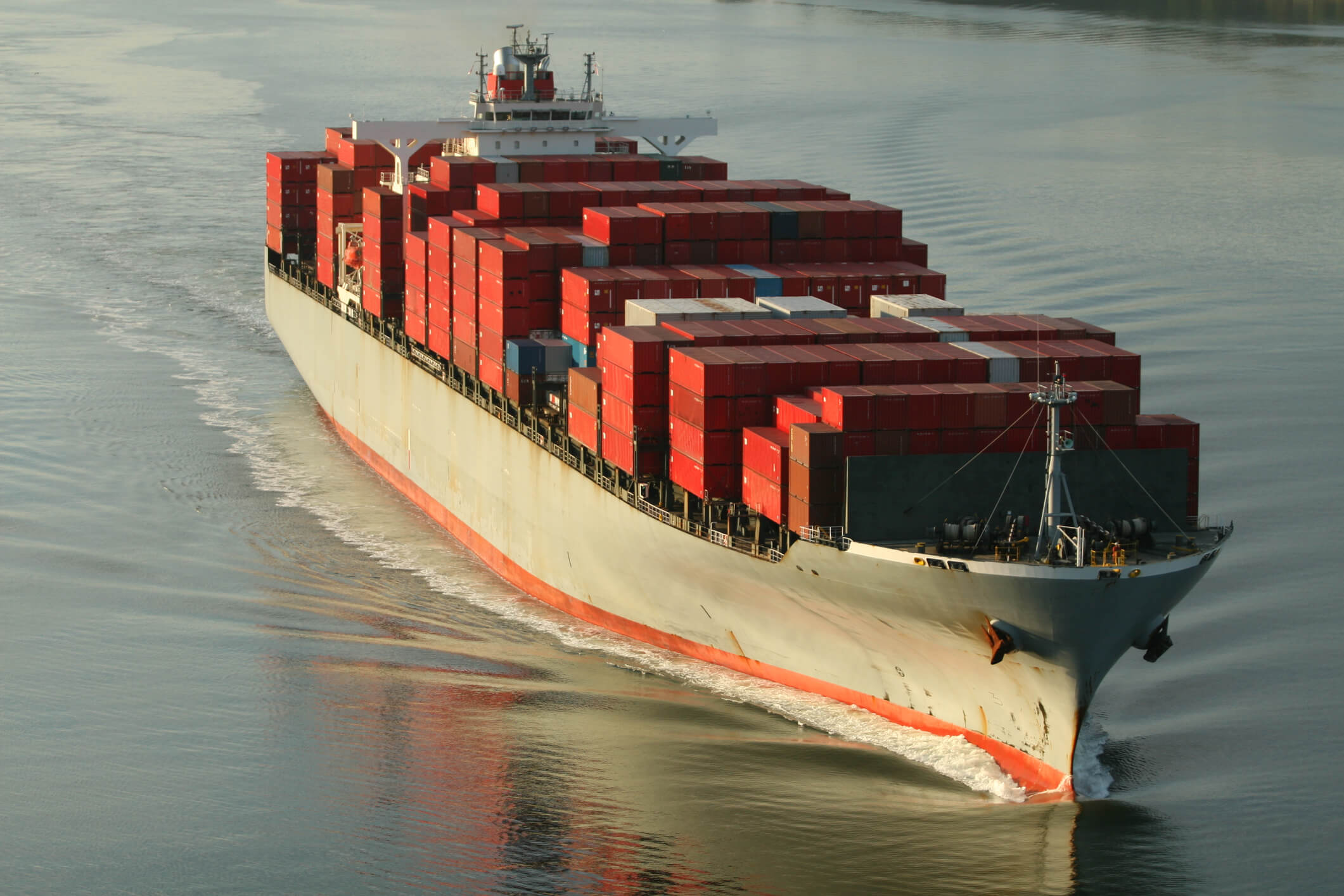 Large freight ship loaded with cargo.