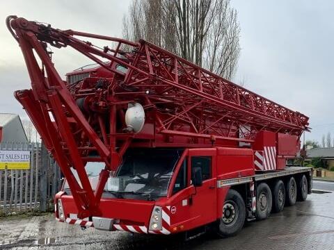 Red Forklift Crane