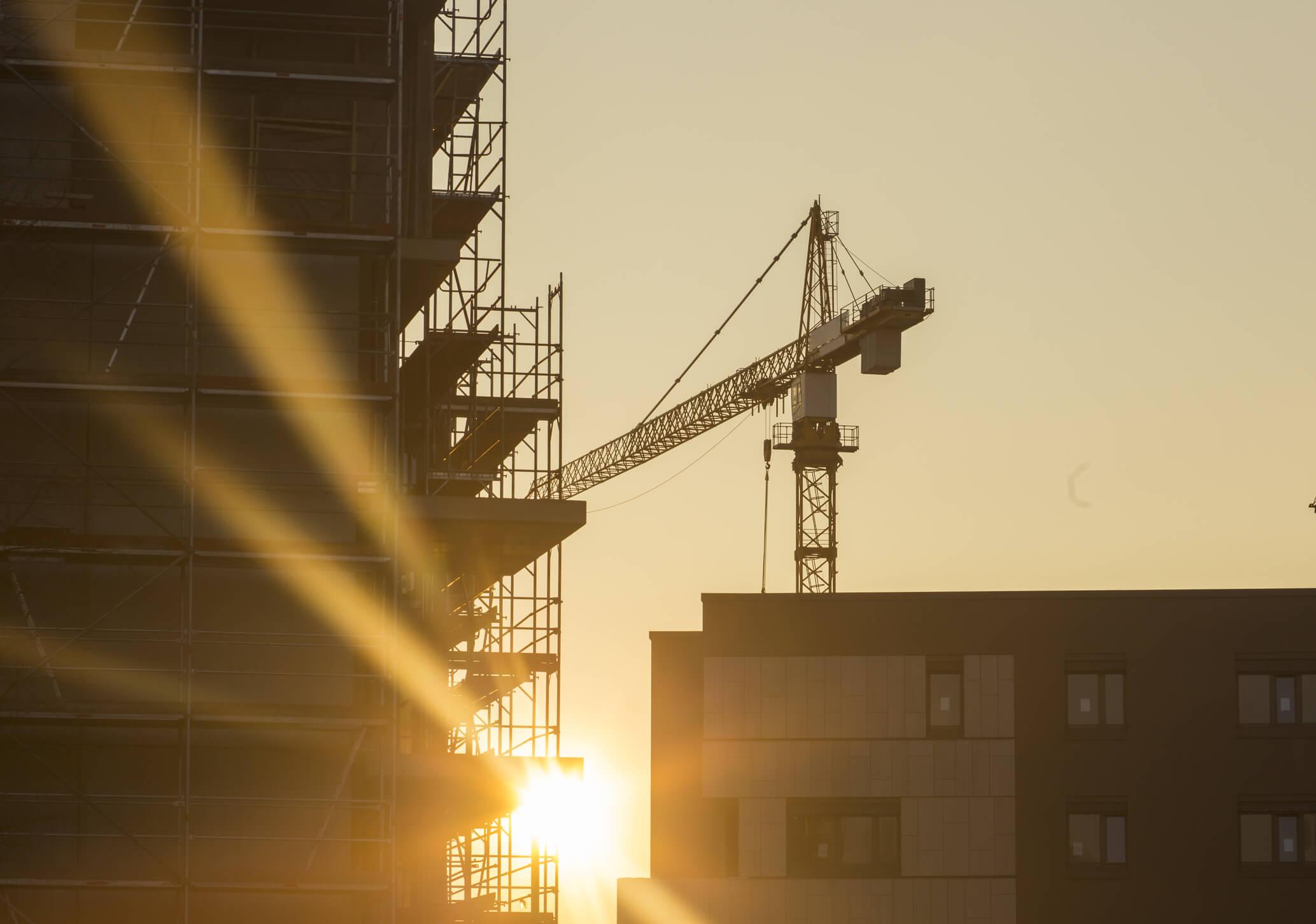 Crane in construction site.
