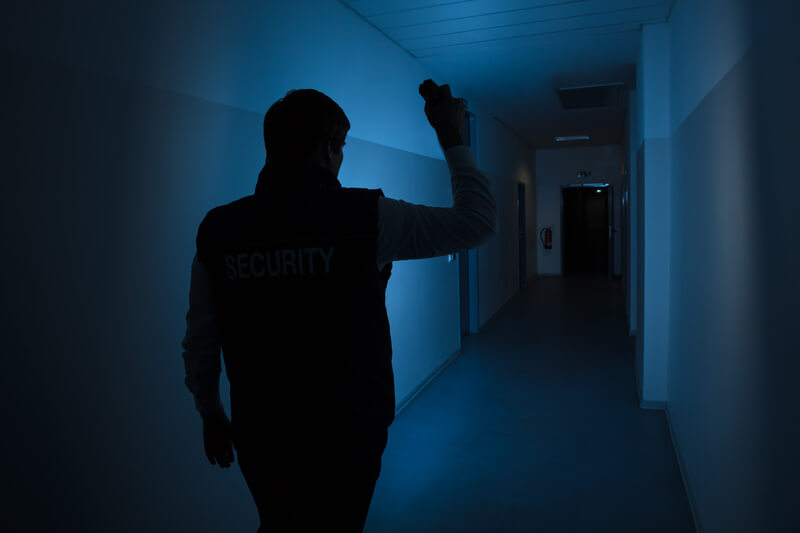 Security Guard Standing In Corridor Of The Building.