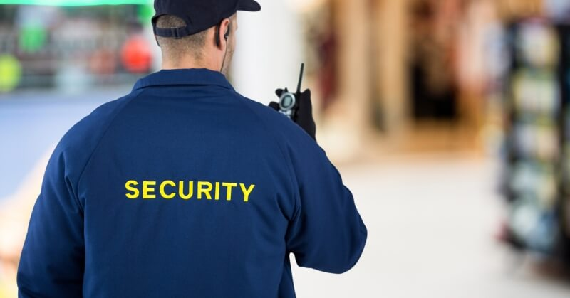 Back of a security guard.