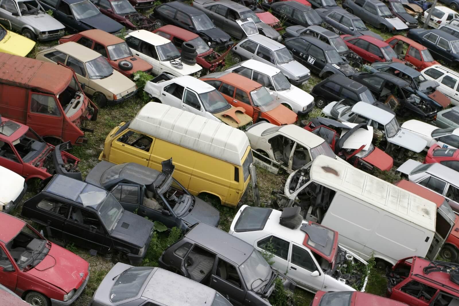 Scrapyard heap of cars
