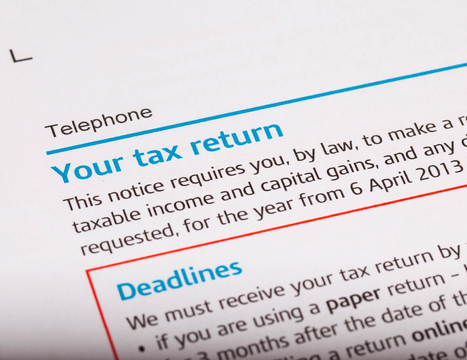 Close up shot of a tax return.