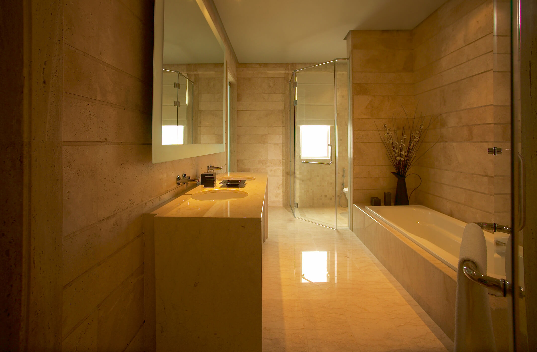 Interior of an elegant bathroom.