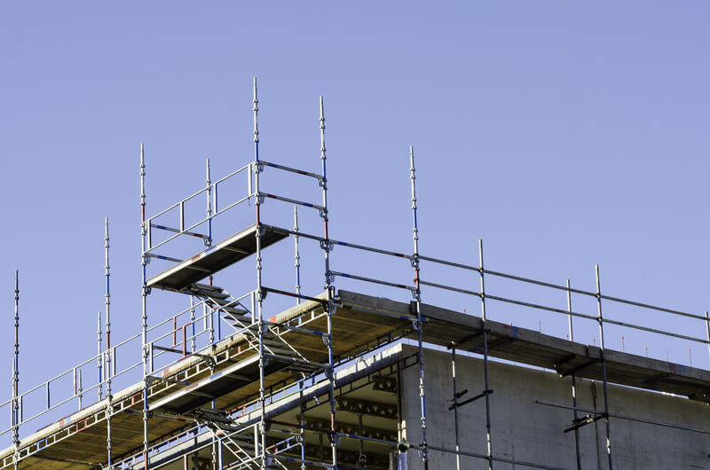 Scaffolding on a Roof