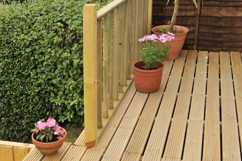 wooden decking in garden