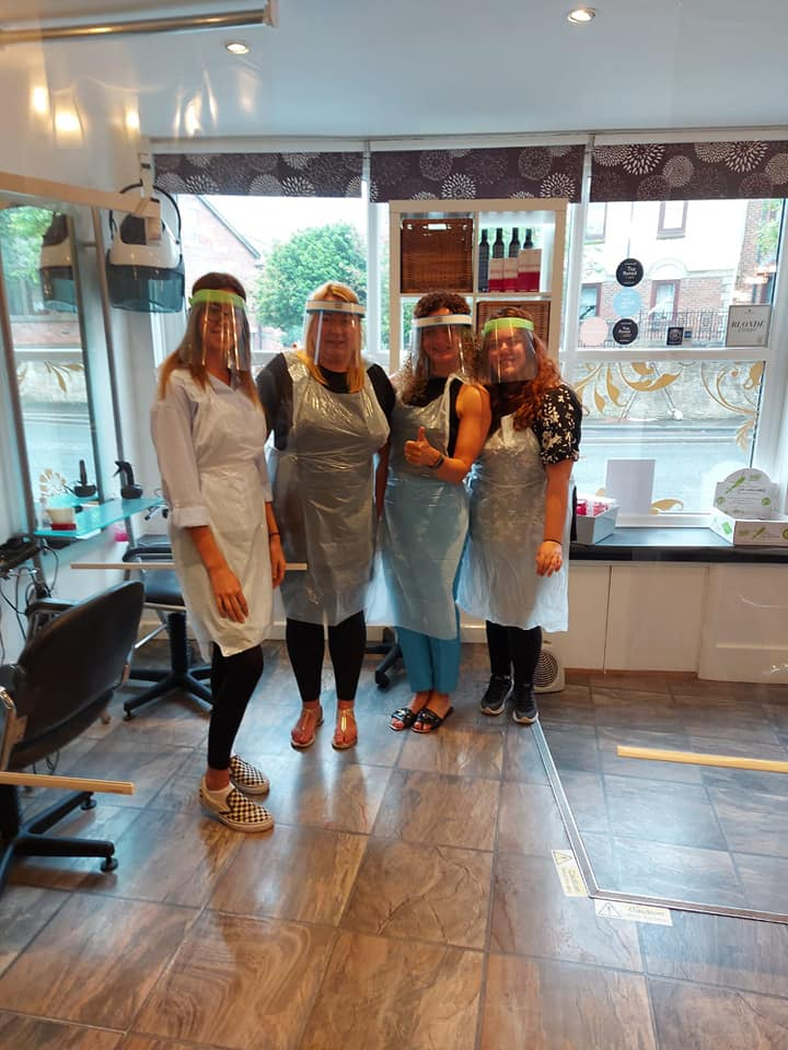 Salon Staff with Covid PPE on