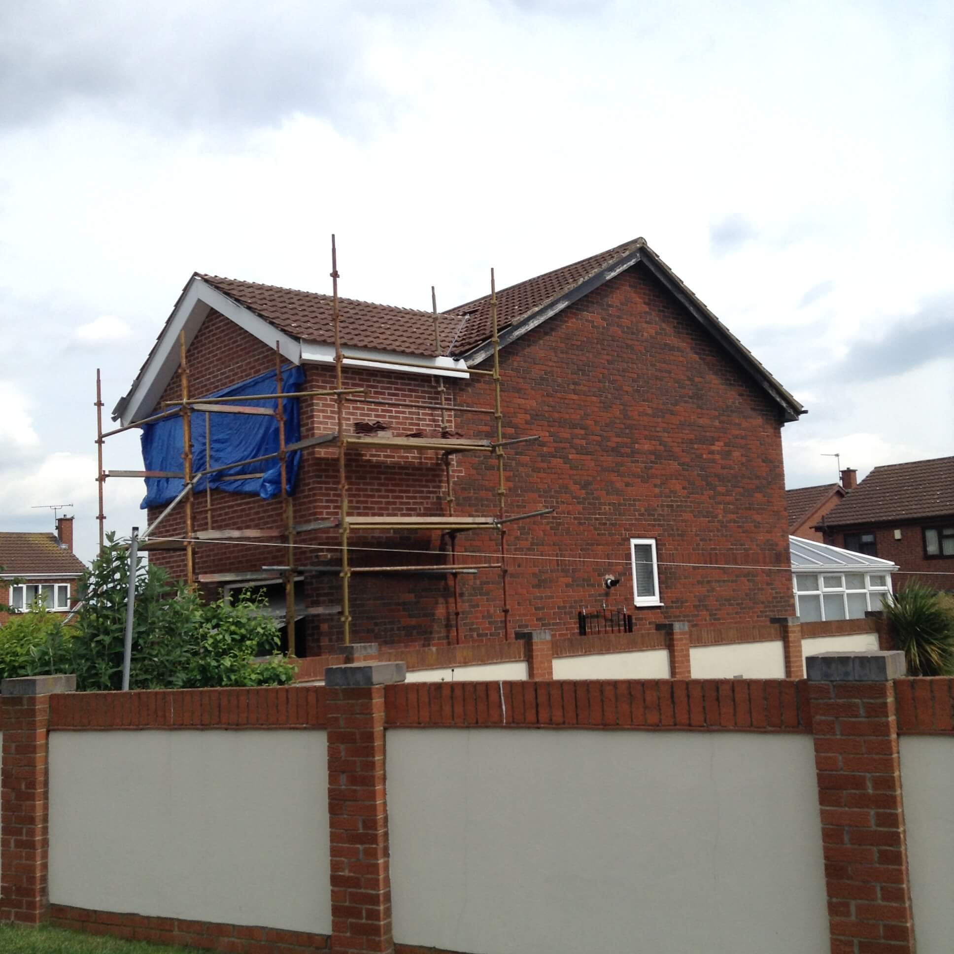 Upstairs extension being built.
