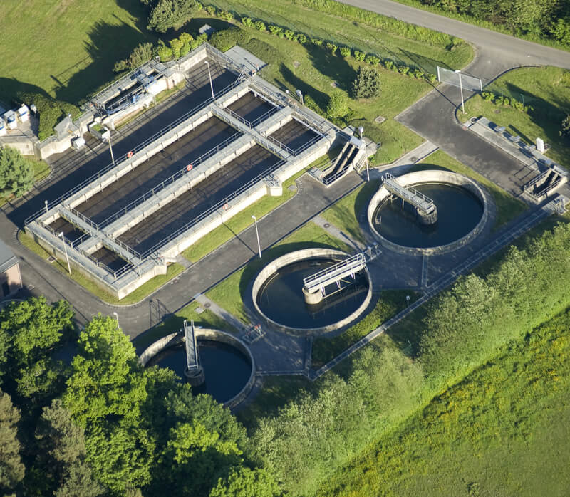 Aerial View of a Water-treatment plant.