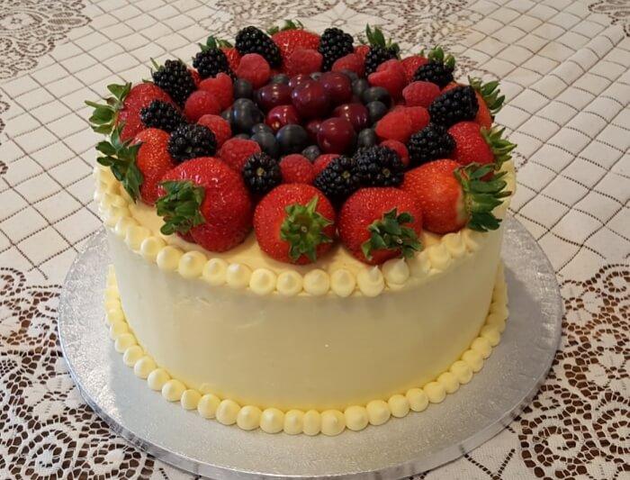 lemon sponge and fresh berry birthday cake
