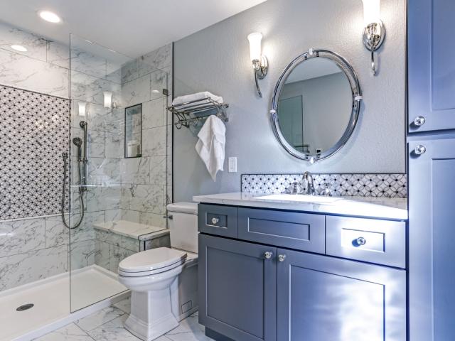 White kitchen with carrara marble countertops