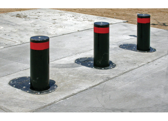 Set of three rising bollards