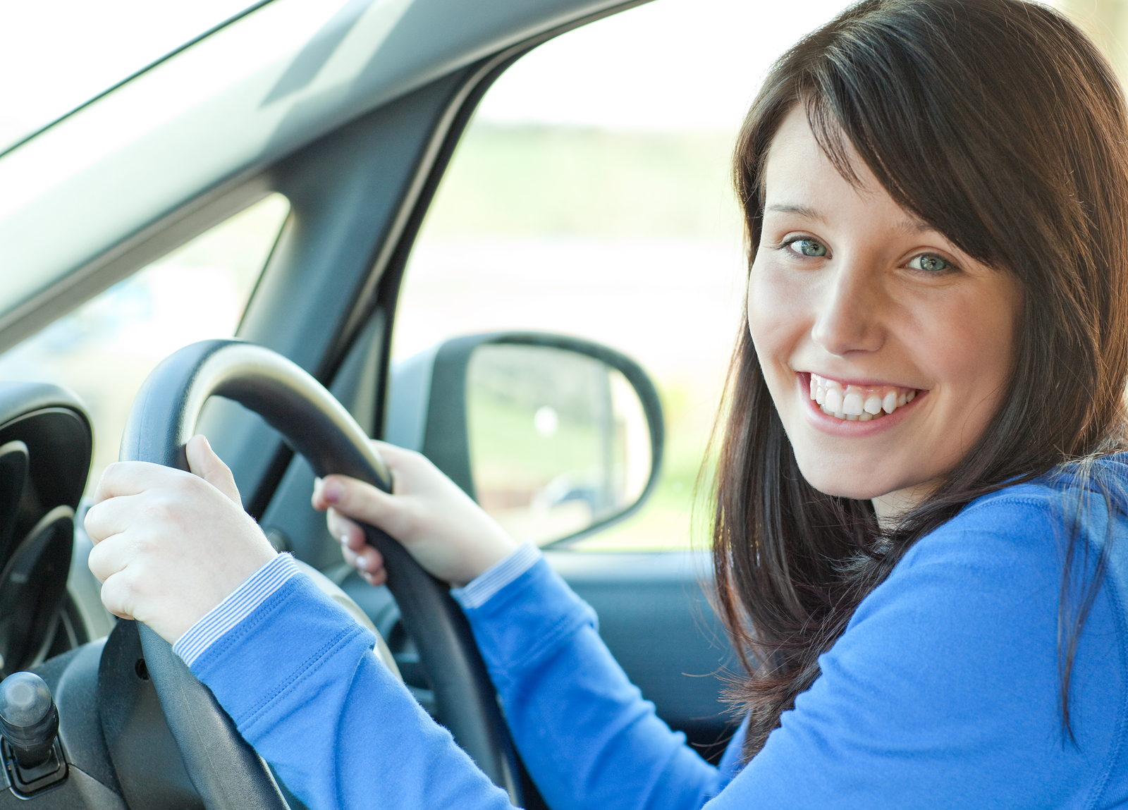 woman sat in a car