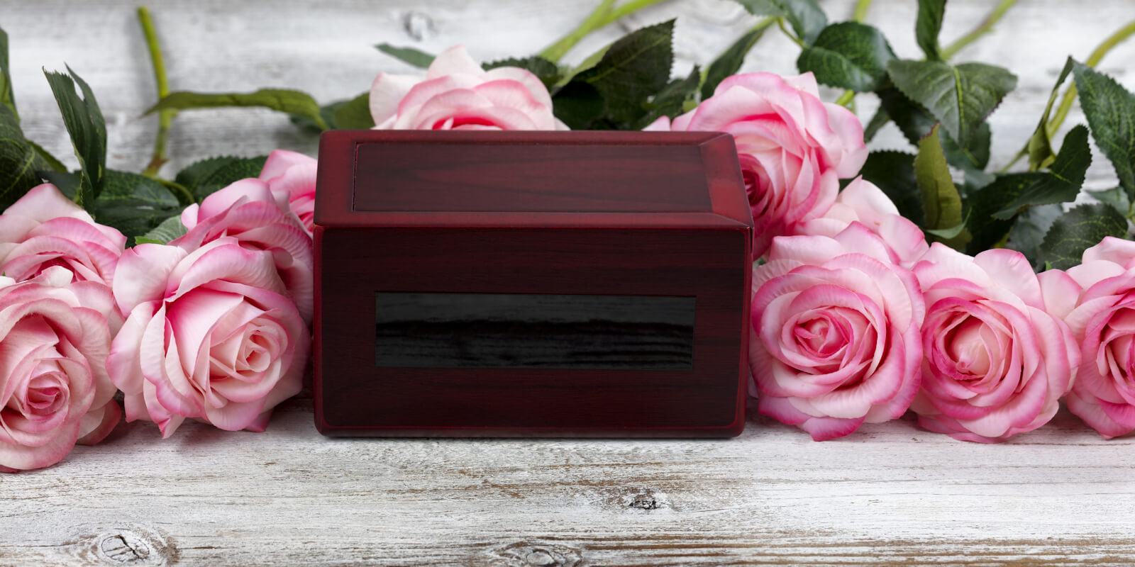 Close up of a cremation funeral box with rose flowers for death concept