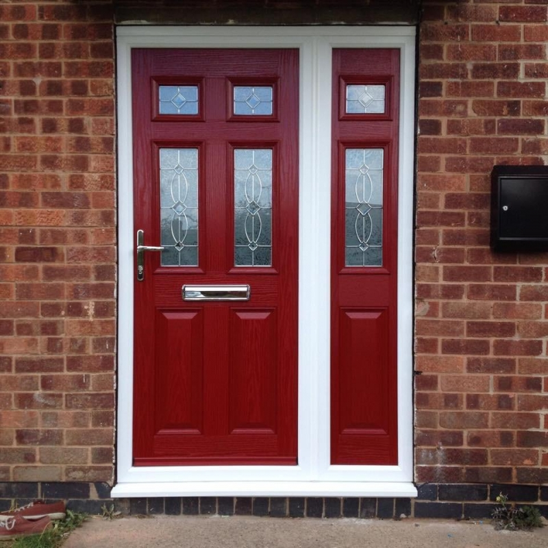 Wooden Red Front Door Fitted