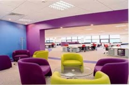 Modern office interior with striking colour scheme