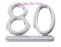 Plastic Silver 80 Cake Topper