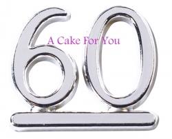 Plastic Silver 60 Cake Topper