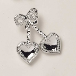 Silver coloured twin Hearts - 38mm