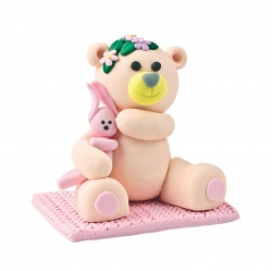 Claydough Teddy & Rabbit - pink 65mm
