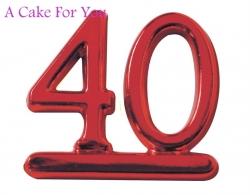 Plastic Ruby Colour 40 Cake Topper