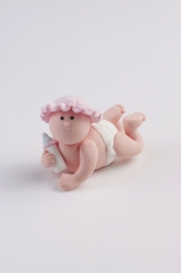 Claydough baby with pink hat - 54mm