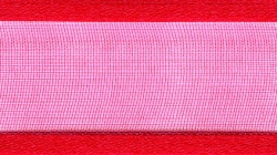 25mm bright red organza ribbon - 25 meter reel