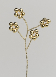 12 x Gold Ball Flower Spray - Gold Wire