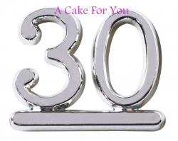 Plastic silver 30 Cake Topper