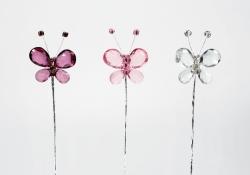 Diamonte butterfly on wire - 48mm
