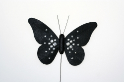 Black diamonte butterfly - 120mm