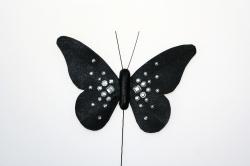 Black diamonte butterfly - 120mm