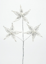 lace bead Flower Spray White - 95mm