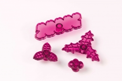 Cupid Rose, Holly & Berries Cutter 4 set