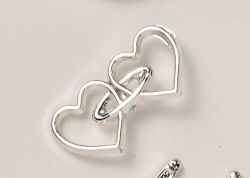 Silver colour interlocking hearts - 32mm
