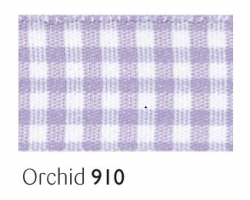 Orchid gingham 15mm ribbon - 20 meter reel
