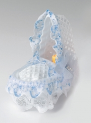 Blue baby craddle with lace - 89mm