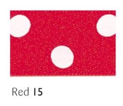 Red 15mm polka dot ribbon - 20 meter reel