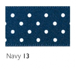 Navy 15mm micro dot ribbon - 20 meter reel