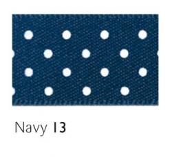 Navy 15mm micro dot ribbon - 20 meter reel