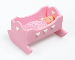 Claydough baby craddle - pink - 60mm x 50mm