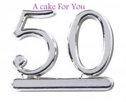 Plastic Silver 50 Cake Topper