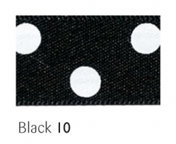 Black 15mm polka dot ribbon - 20 meter reel
